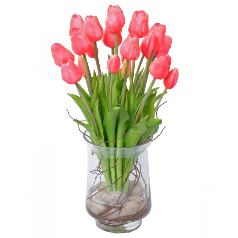 Pink Tulips with Stones & Vine in Glass Vase