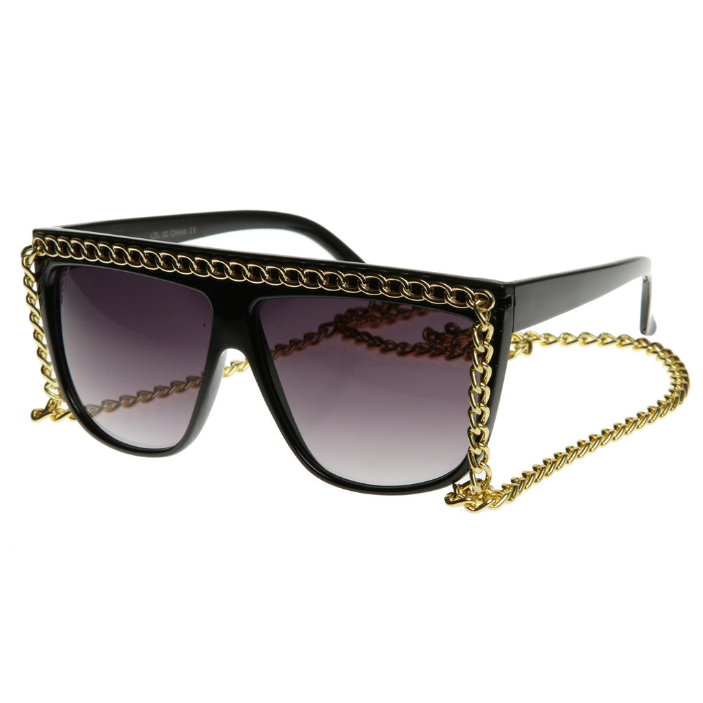 Retro Chain Flat Top Sunglasses - We Heart Sunglasses