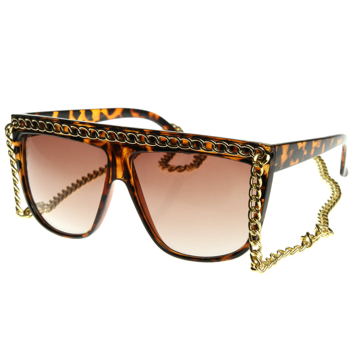 Retro Chain Flat Top Sunglasses