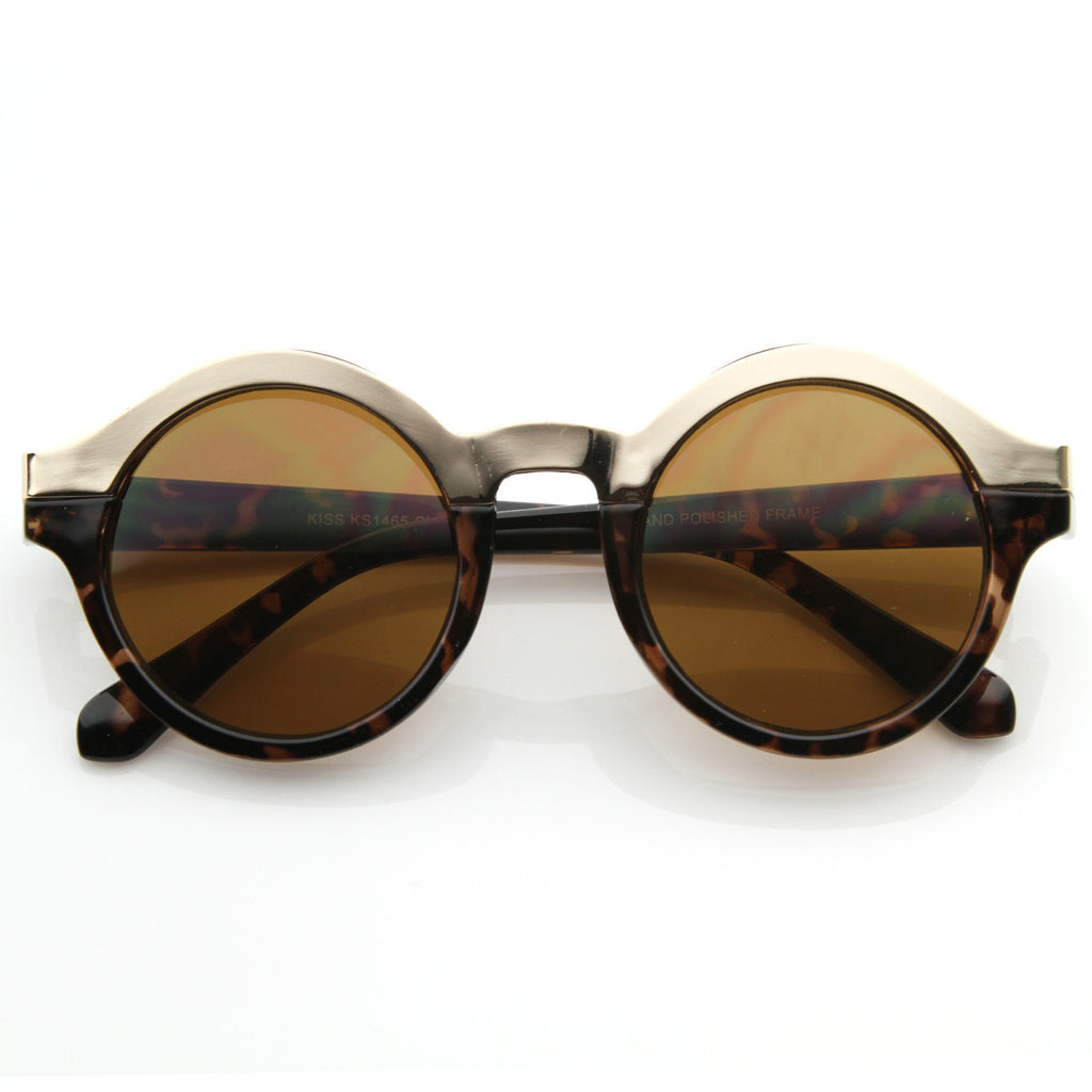 Round Vintage Gold Outline Sunglasses - We Heart Sunglasses