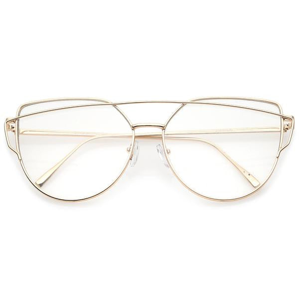 Gold Cross Bar Clear Glasses