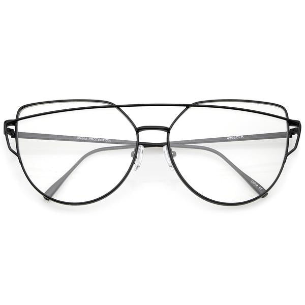 Cross Bar Cat Eye Black Clear Glasses