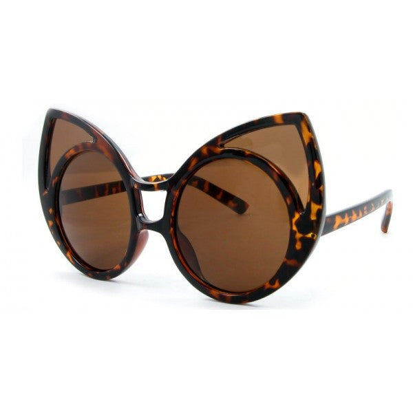 Large Round Pointy Cat Eye Sunglasses - We Heart Sunglasses