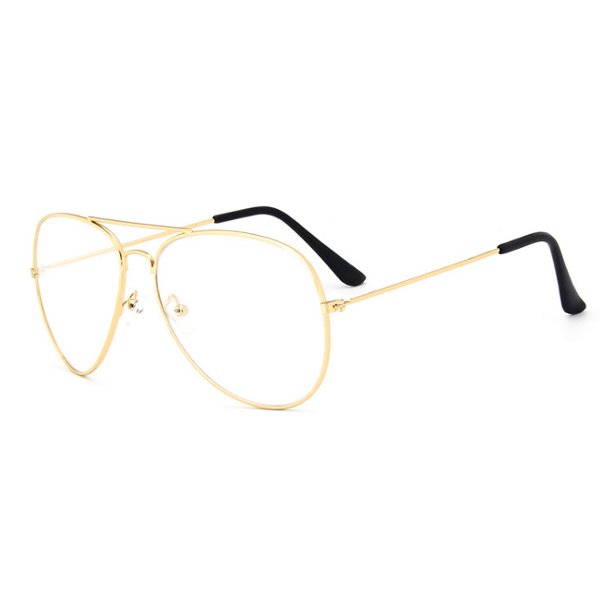 Gold Aviator Clear Glasses - We Heart Sunglasses