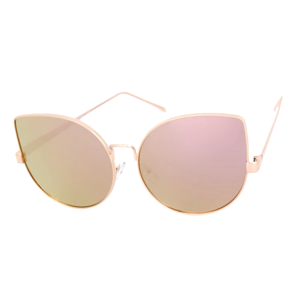 Round Mirrored Cat Eye Sunglasses