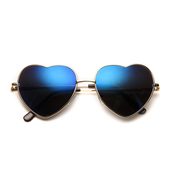 Retro Heart Reflective Metal Sunglasses