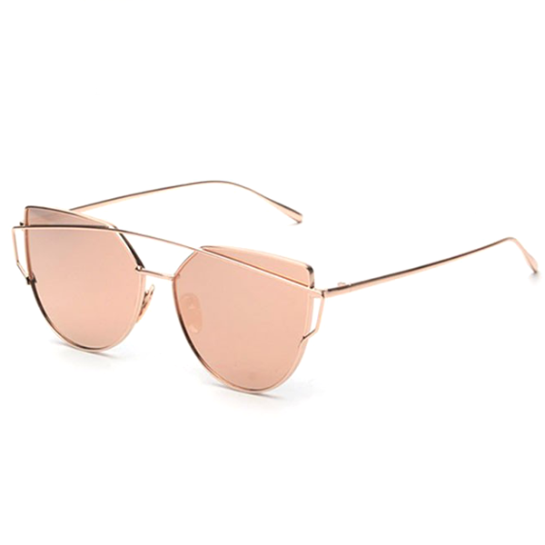 Rose Gold Metal Cat Eye Sunglasses