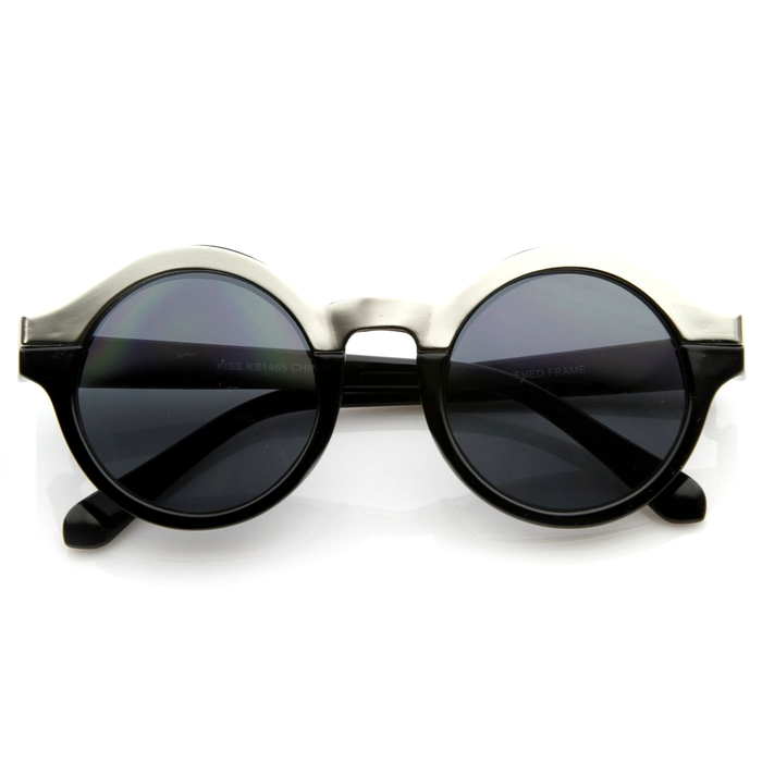 Round Vintage Gold Outline Sunglasses