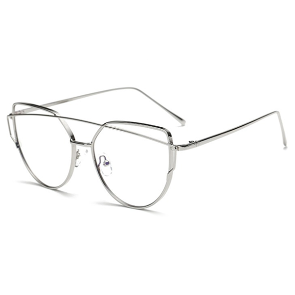Cross Bar Cat Eye Silver Clear Glasses - We Heart Sunglasses