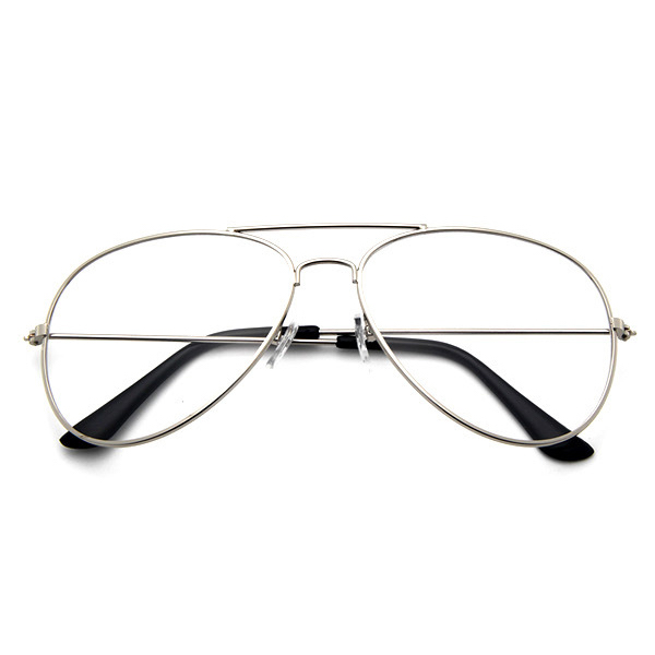 Silver Aviator Clear Glasses