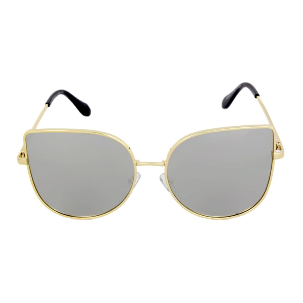 Round Mirrored Gold Cat Eye Sunglasses - We Heart Sunglasses