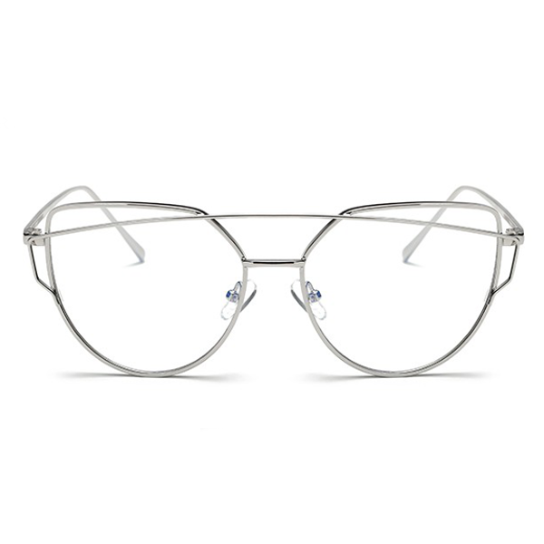 Cross Bar Cat Eye Silver Clear Glasses