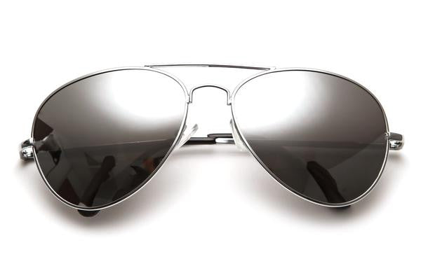 Silver Mirrored Aviator Sunglasses - We Heart Sunglasses