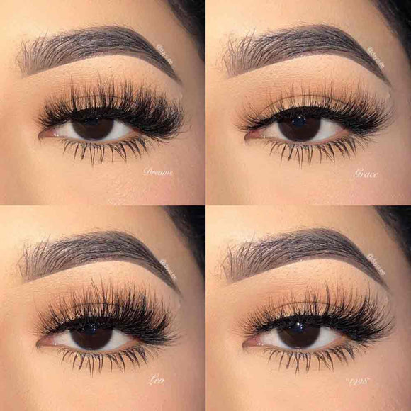 Four luxury style mink eyelashes that will create full length and volume for your eyes