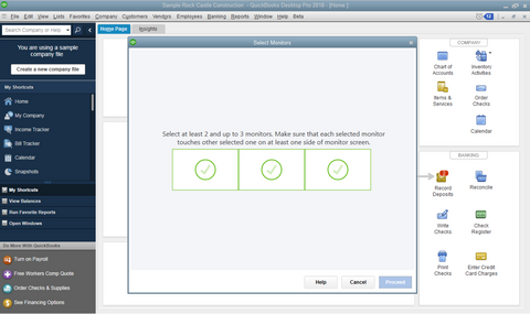QuickBooks Multi Monitor Support