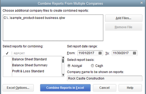 QuickBooks Combine Reports from Multiple Files