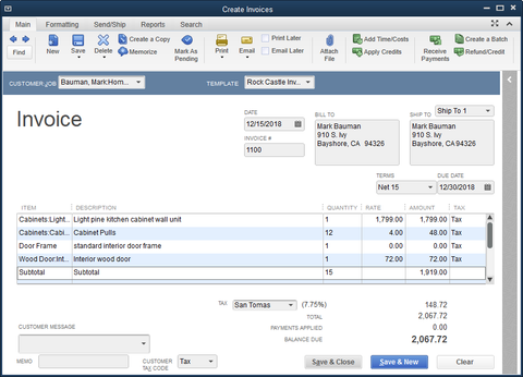 QuickBooks Total Any Column