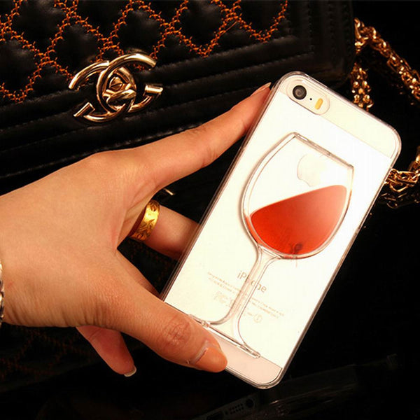 LOVECOM For iPhone 7, iPhone 4, 4S, 5, 5S, SE, 5C, 6, 6S, 7 Plus Liquid Quicksand Red Wine Transparent Phone Case Hard PC Back Cover