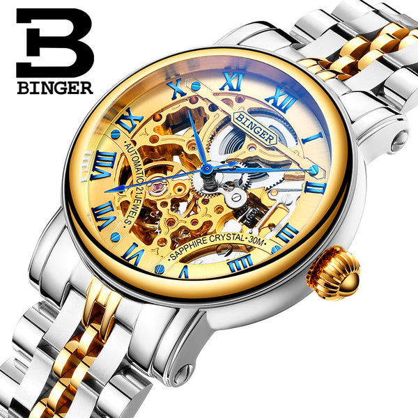 Switzerland luxury men's watche BINGER brand Hollow Out Mechanical  Wristwatches sapphire full stainless steel B-5066M-2