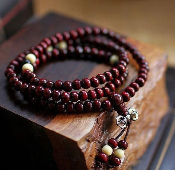 Natural 6mm Rosewood Beads Buddha Bracelet 108 Beads