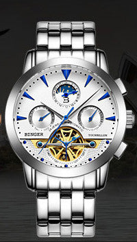 2016 Switzerland luxury men's watche BINGER brand Mechanical Wristwatches Wristwatches sapphire full stainless steel B1188-8