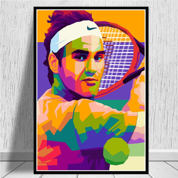 Roger Federer Painting Living Room Home Decor