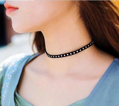 Gold Plated Black Choker Necklace