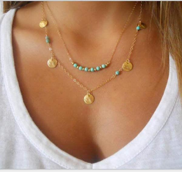 Bohemian Necklace for Women Tassel Drop Vintage Multilayer Collar Necklace