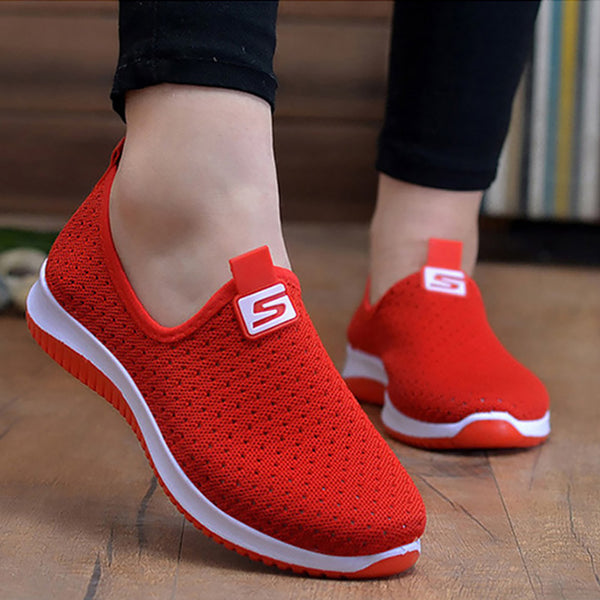 Women's Sneakers Breathable Mesh Wedges Striking Red