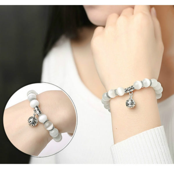 Weight Loss Magnet White Cat Eye Beads Bracelet