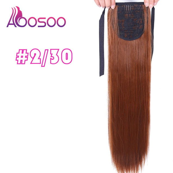Long Silky Straight Ponytails Clip In Synthetic Pony Tail