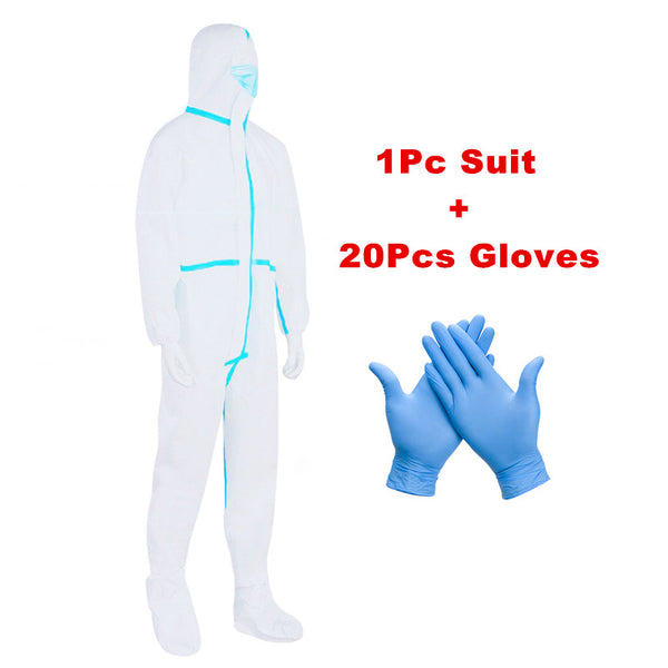 Disposable Isolation Disinfection Suit with 20Pc NBR Gloves