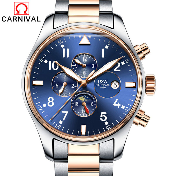 Switzerland Carnival Famous Brand Watch 2016 Luxury Men Automatic Watch Rose Gold Case Blue Dial Leather Strap Moon Phase