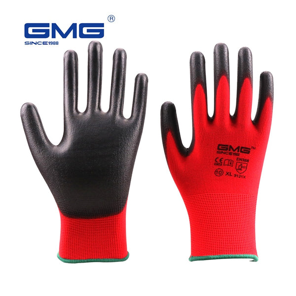 GMG CE Certificated EN388 Red Polyester Black PU Work Safety Gloves Mechanic Working Gloves