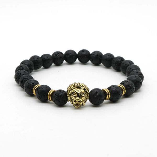 Antique Gold Plated Buddha Leo Lion Head Bracelet