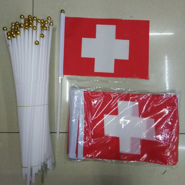 10pcs/pack Promotion Small Switzerland Hand Waving National Flag 14*21cm #8 Polyester Swiss Flag