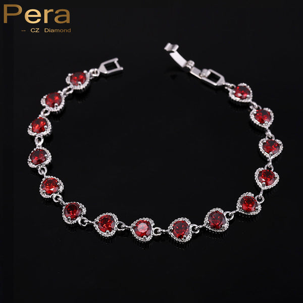 Trendy Women Jewelry Swiss Cubic Zirconia Stone Elegant Heart Shape Red Bracelets For Ladies