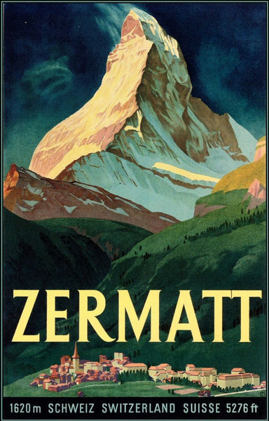 Zermatt Switzerland Map Vintage Travel Poster