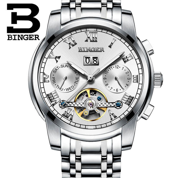 Lxuxury Switzerland Brand Watches BINGER Men Automatic Mechanical Watch Steel Strap Skeleton flywheel Design B-8601