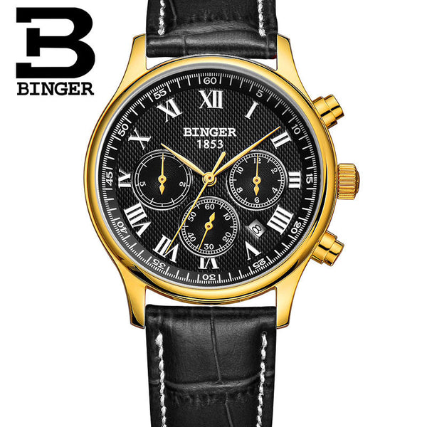 Genuine Swiss BINGER Luxury Brand Men leather strap full steel automatic mechanical Self Wind Sapphire business watch waterproof