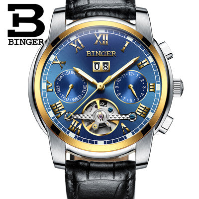 Switzerland BINGER watches men luxury brand Tourbillon sapphire luminous multiple functions Mechanical Wristwatches B8601-11