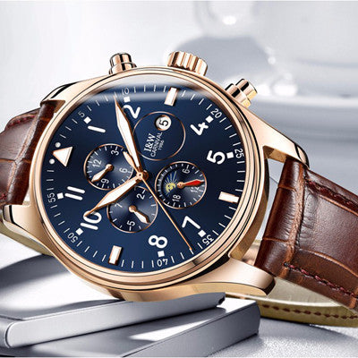 2016 Luxury watch Men Automatic mechanical Watch Switzerland Carnival Famous Brand Watch Rose Gold Case Blue Dial Leather Strap