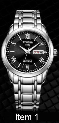 Switzerland watches men luxury brand Wristwatches BINGER luminous Automatic self-wind full stainless steel Waterproof  BG-0383-6