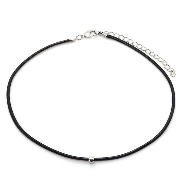 Simple Fashion Choker Necklace Thin Black Leather Rope