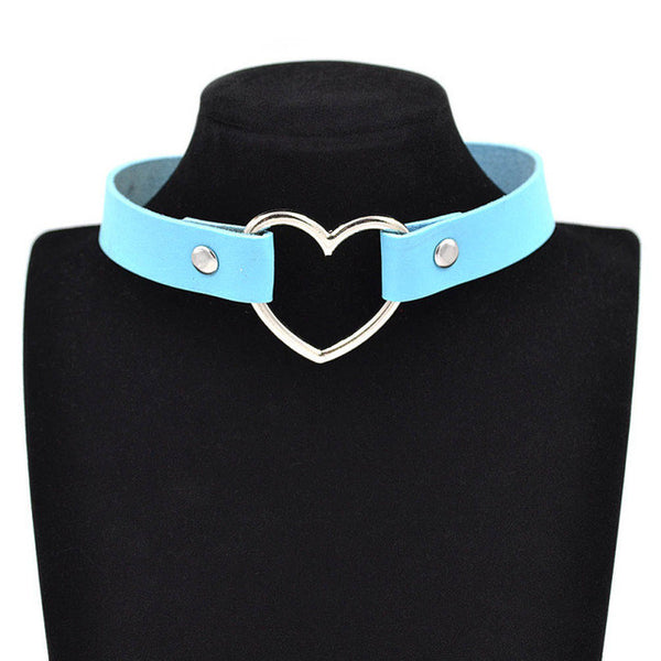 Lychee Gothic Punk Style Multi Color Alloy Heart Pendant Leather Choker Necklace