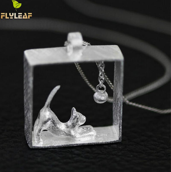 Flyleaf 925 Sterling Silver Cat Necklace Silver Chain kitty Necklaces & Pendants for women girl Jewelry Collares 2015 colar