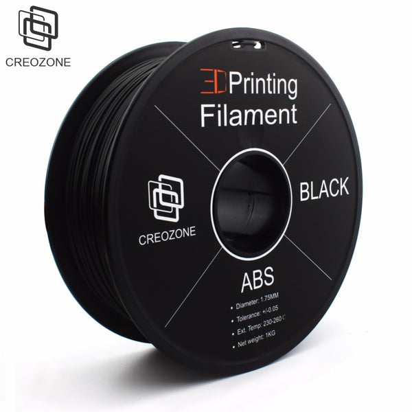 CREOZONE ABS 3D Plastic Filament ABS Filament 1KG 1.75 3D Printing Materials Plastic for 3D Printer Black