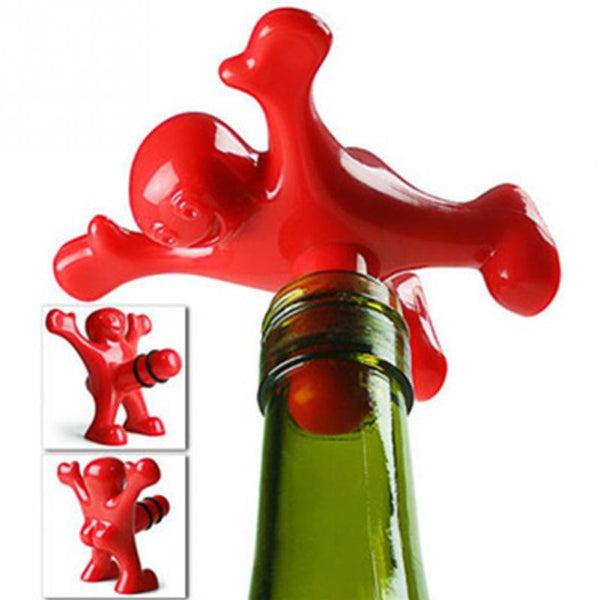 Red Happy Man Wine Bottle Stopper