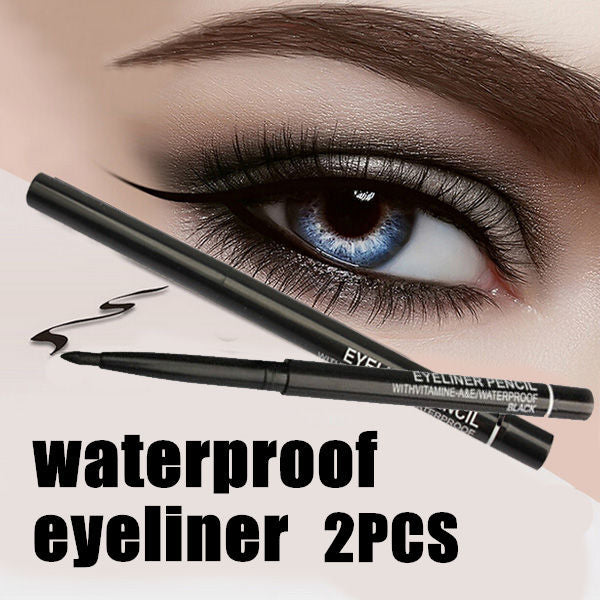 Hot Sale! 2pcs/lot  Women Waterproof Retractable Rotary Eyeliner Pen Eye Liner Pencil Makeup Cosmetic Tool
