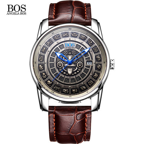 ANGELA BOS Retro 3D Maya Calendar Dial Stainless Steel Automatic Mechanical Watch Swiss Luminous Mens Watches Top Brand Luxury